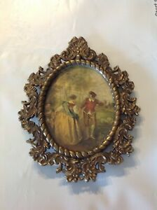 Vintage Italy Brass Glass Oval Frame Man Woman Made In Italy Frame 5 1 2 X 4