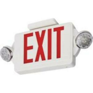New Lithonia Lighting 2 light Plastic Led White Exit Sign emergency Combo