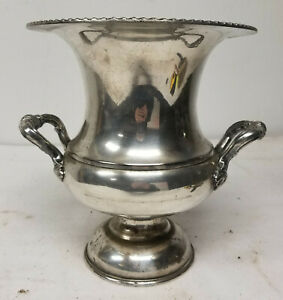 Antique Black Starr And Gorham Silverplate Wine Cooler Planter Silver On Copper