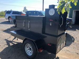 Barn Door Mobile Bbq Smoker Grill Trailer Front Storage Food Truck Concession