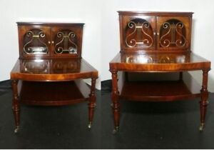 Antique Pair Weiman Heirloom End Step Tables Leather Top Doors Cabinet Rolling