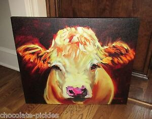 Large Cow Face Head Canvas Wall Picture Farmhouse Primitive French Country Decor