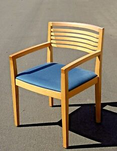 Vintage Contemporary Modern Blue Seat Solid Wood Accent Chair By Knoll 1990 S