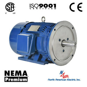 1 Hp Electric Motor 143td 3 Phase 1800 Rpm Premium Efficient Severe Duty Flanged