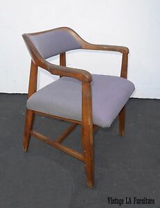 Vintage Danish Modern Style Solid Wood Accent Chair Lavender Fabric