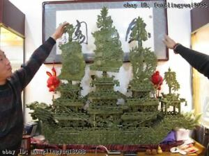 51 Chinese Regius Palace Green Stone Jade Exquisite Carved Sailboat Dragon Boat