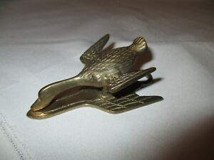 Vintage Brass Duck Paper Clip Mail Memo Letter Holder Action Products Taiwan