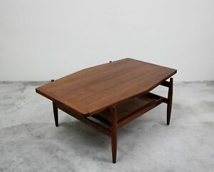 Mid Century Walnut And Cane Coffee Table By Jens Risom