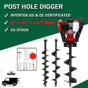 52cc Post Hole Digger Gas Powered Fence Ground Drill W 3 Auger Bits
