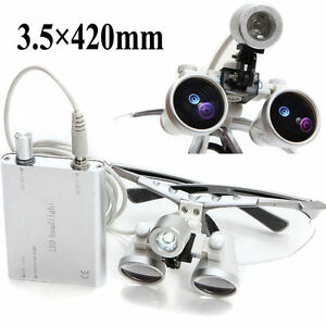 2019 New Dental Surgical Binocular Loupes 3 5x 420mm With Led Head Light Lamp Ce