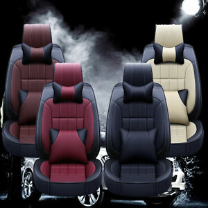 Deluxe Car Seat Covers Full Set 5 Seat Thicken Pu Leather Front Rear Cushion