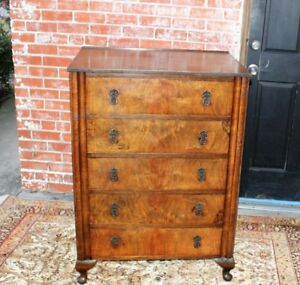 English Antique Burl Walnut Wood Queen Anne Chest Of Drawers Bedroom Furniture