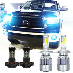 4x 8000k Ice Blue Led Headlight 9003 Hi lo Beam H16 Fog Light For Toyota Tacoma