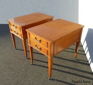 Pair Vintage Hekman Mid Century Modern Golden Brown End Tables Nightstands