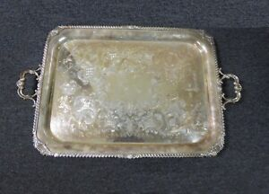 Vintage Cheltenham Co Silver On Copper Platter Serving Tray Made In England