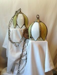 Vintage Pair Of Stained Glass Tulip Shaped Pendant Hanging Lights