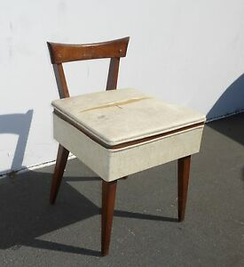 Vintage Danish Mid Century Modern Wood Sewing Chair W Seat Storage Peg Leg