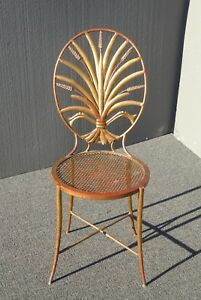 Vintage Italian Gold Gilt Metal Wheat Sheaf Accent Chair Made Italy S Salvadori