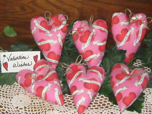 6 Pink Fabric Valentine S Day Hearts Bowl Fillers Handmade Wreath Making Decor