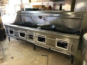 Six Burner 4 Hole Chinese Wok Range Stove Natural Gas Commercial Restaurant