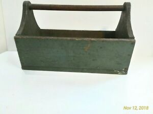 Primitive Antiques Old Paint Four Divided Tote Tool Box Handle Well Worn