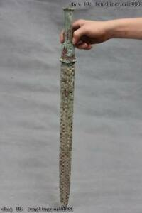 Chinese Civil Collection Old Bronze Silver Gilt Warrior General Knife Sword