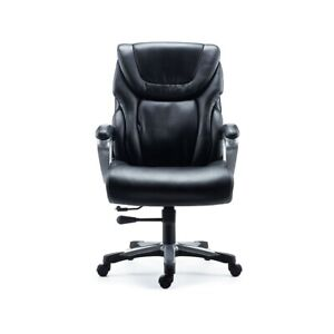 Staples Denaly Bonded Leather Big Tall Managers Chair Black 2715730