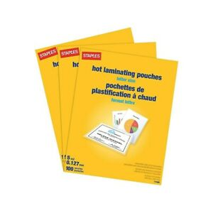 Staples 5 Mil Thermal Laminating Pouches Letter 300 Pack 2425553