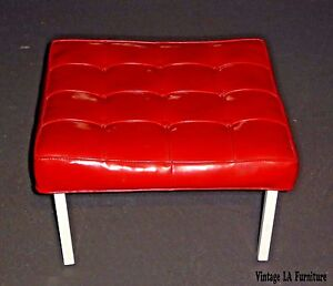 Large 24 Squared Mid Century Tufted Red Vinyl Bench Stool Hollywood Regency