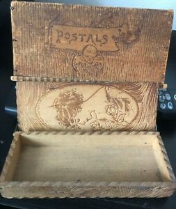 Antique Wood Postal Box And A Pencil Wood Box 100 Yrs Old Each
