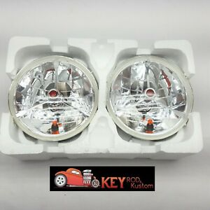 7 Round Headlights Red Dot Tri Bar True Glass Lens With Turn Signal Chevy