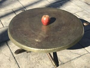 Mid Century Modern Circular Pounded Brass End Coffee Table Wood Tripod Moroccan