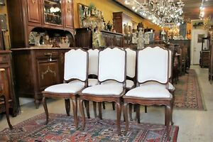 6 French Antique Louis Xv Walnut Chairs W New Upholstery Dining Room Furniture