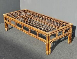 Vintage Mid Century Modern Bamboo Rattan Coffee Table W Glass Top