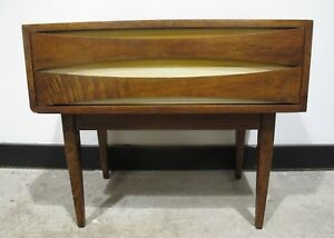 Arne Vodder Style Walnut Nightstand Mid Century Danish Modern Bedside Table End