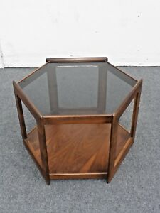 Vintage Danish End Table Mid Century Modern Smokey Glass Top Octagon Two Tier