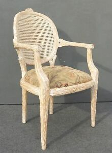 Designer French Cane Back Carved Wood Accent Arm Chair