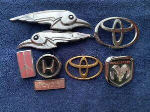 Lot Of 8 Vintage Honda Toyota Dodge Oldsmobile Car Automotive Emblems