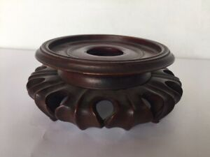 Old Chinese Rosewood Hardwood Circular Stand For Display Vase Or Pottery