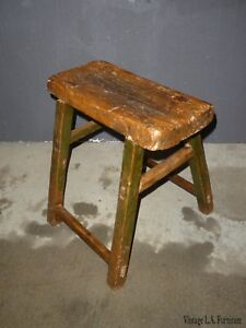 Vintage French Country Rustic Brown Bench Stool Farmhouse Industrial