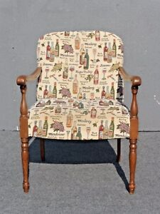 Vintage Accent Arm Chair French Country W Wine Bottles Wine Glasses Fabric