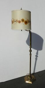 Vintage French Country Swivel Arm Brass Floor Lamp Floral Shade Flowers Are Real