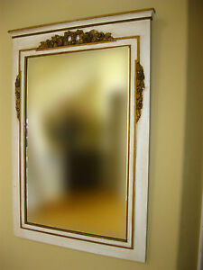 Vintage French Provincial White Gold Gilt Trumeau Wall Mirror Chic Shabby
