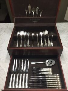 Antique Modern Victorian By Lunt Sterling Silver Flatware Service Set 73 Pieces