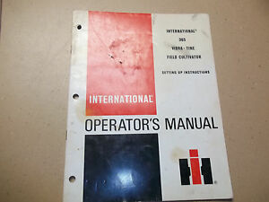 International 365 Vibra tine Field Cultivator Setup Instructions Original Manual