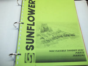 Sunflower 3 Section Field Cultivator Op manual Disc Attchment Parts Manual