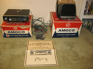Vintage Amoco T 1001 T1001 Brand New Old Stock 8 track Car Stereo And Speakers