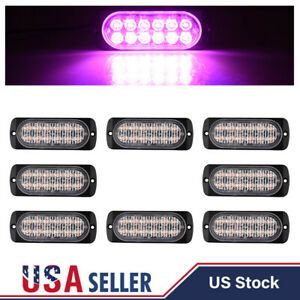 8pcs Purple 12 Led 36w Strobe Light Car Beacon Flash Warn Hazard Emergency Lamps