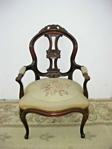 Vintage French Provincial Ornately Carved Accent Arm Chair Tapestry Upholstery