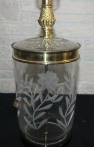 Vintage Etched Daisies Crystal Lamp With A Brass Acorn Finial And Trimworks
